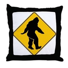 Bigfoot crossing Throw Pillow