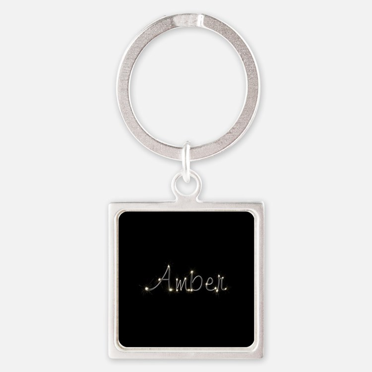 Amber Spark Square Keychain