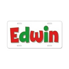Edwin Christmas Aluminum License Plate