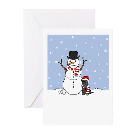 Black Miniature Schnauzer Winter Blank Cards