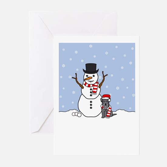 Miniature Schnauzer Winter Blank Greeting Cards