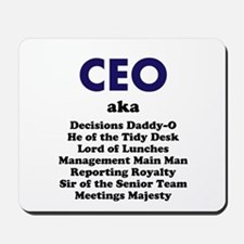Man CEO Funny Joke Names and Titles Mousepad