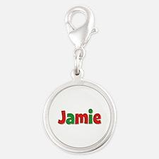 Jamie Christmas Silver Round Charm
