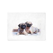 Pug Puppies 5'x7'Area Rug