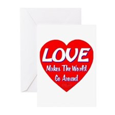 LOVE Makes The World Go Around Greeting Cards (Pk