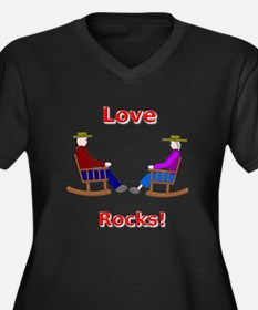 Love Rocks Women's Plus Size V-Neck Dark T-Shirt