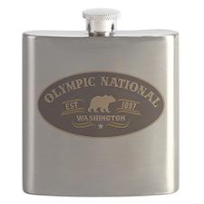 Olympic Belt Buckle Badge Flask