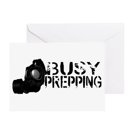 Busy Prepping Gas Mask Greeting Card