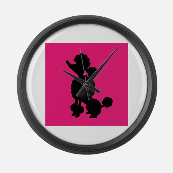 Pink and Black Poodle Silhouette Large Wall Clock