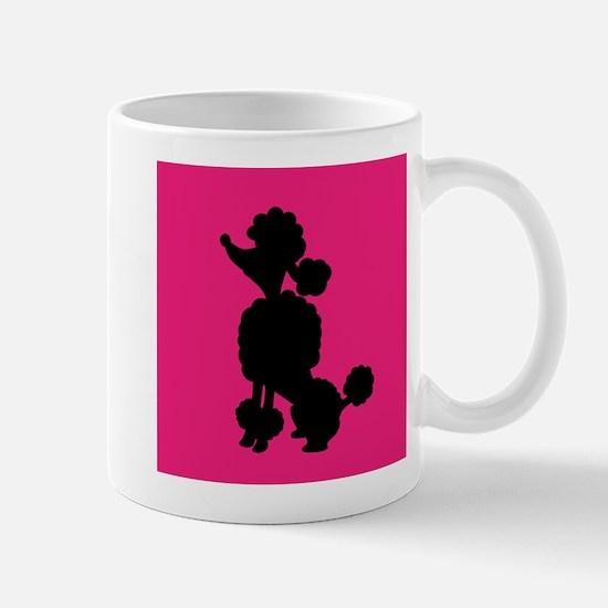 Pink and Black Poodle Silhouette Mug