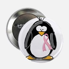 """Breast Cancer penguin 2.25"""" Button (100 pack)"""