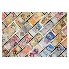 Bank notes of various nationalities Poster