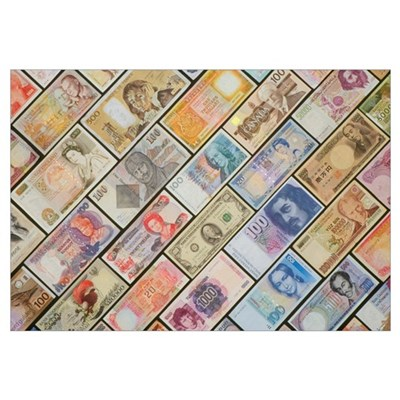 Bank notes of various nationalities Poster