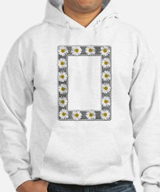 Grayscale Daisies and Burlap Photo Frame Jumper Hoody