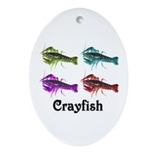 Colorful Crayfish Oval Ornament