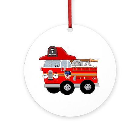 Fire Engine Seven Ornament (Round)