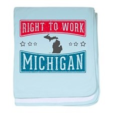 Right To Work Michigan baby blanket