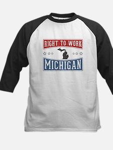 Right To Work Michigan Kids Baseball Jersey