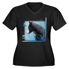Steed Two Women's Plus Size V-Neck Dark T-Shirt