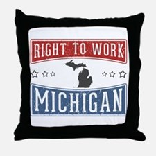 Right To Work Michigan Throw Pillow