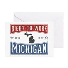 Right To Work Michigan Greeting Cards (Pk of 10)