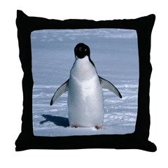 Lone Adelie with background Throw Pillow