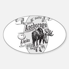 Anchorage Vintage Moose Sticker (Oval)