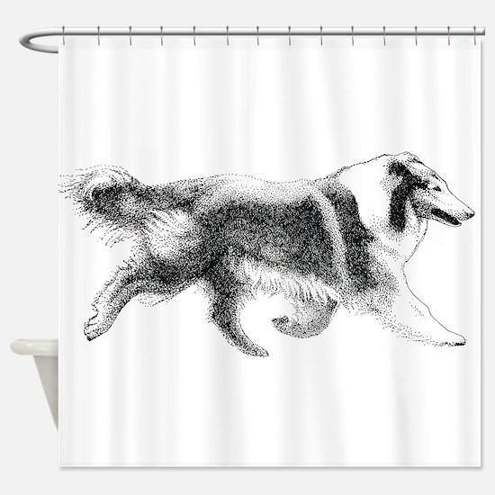 Running Collie Shower Curtain