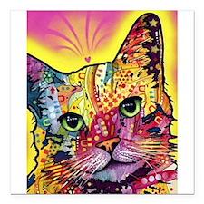 "Psychadelic Cat Square Car Magnet 3"" x 3"""