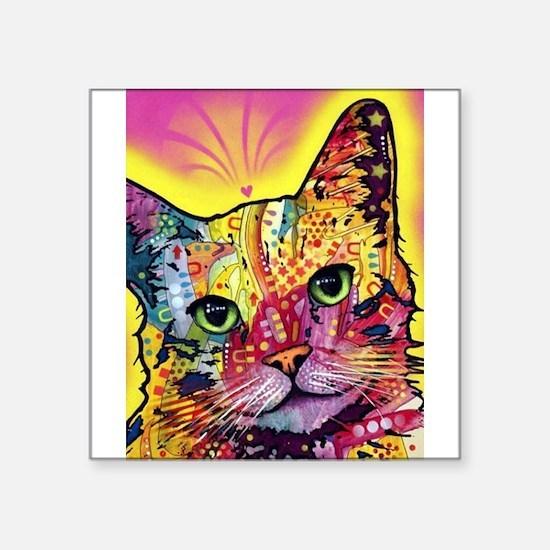 "Psychadelic Cat Square Sticker 3"" x 3"""