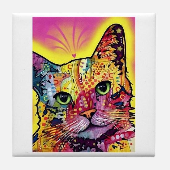 Psychadelic Cat Tile Coaster