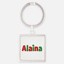 Alaina Christmas Square Keychain