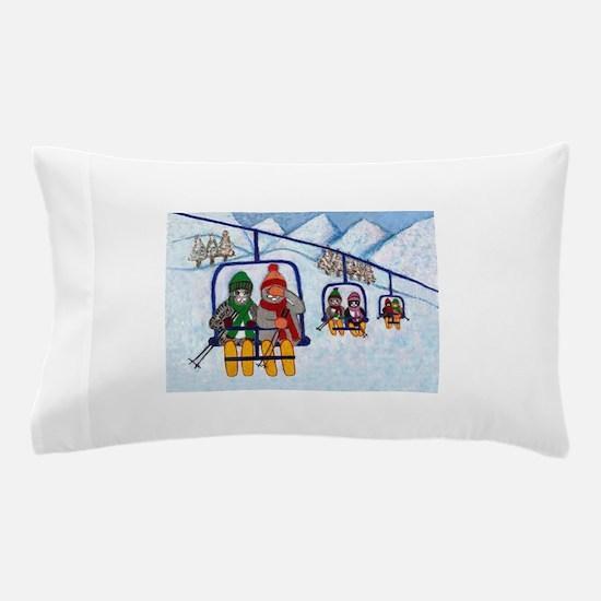 Cats Riding Ski Lift Pillow Case