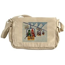 Cats Riding Ski Lift Messenger Bag