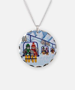 Cats Riding Ski Lift Necklace