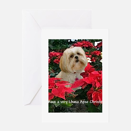 PoinsettiaCard7x5BlondeLhasa Greeting Cards