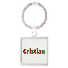Cristian Christmas Square Keychain