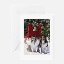 Sheltie_sleigh Greeting Cards