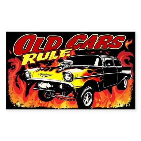 Old Cars Rule - Gasser Sticker (Rectangle)
