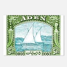 1937 Aden Dhow Boat Postage Stamp Postcards (Packa