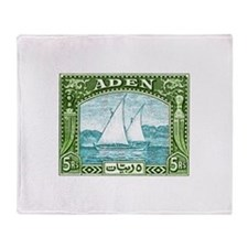 1937 Aden Dhow Boat Postage Stamp Throw Blanket