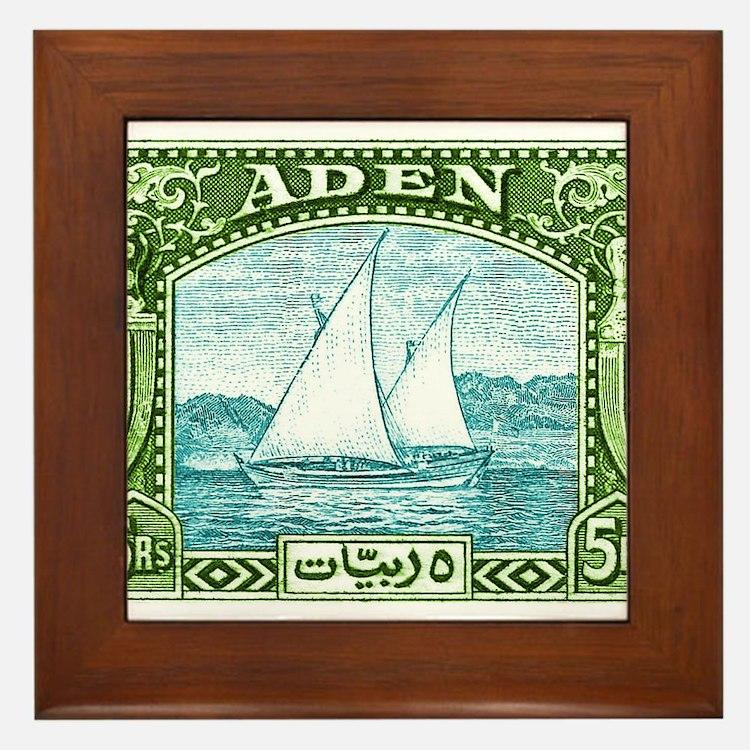 1937 Aden Dhow Boat Postage Stamp Framed Tile
