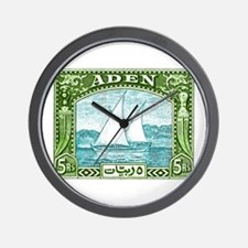 1937 Aden Dhow Boat Postage Stamp Wall Clock