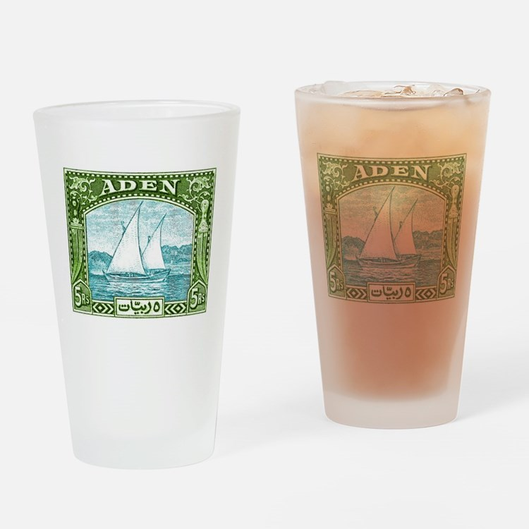 1937 Aden Dhow Boat Postage Stamp Drinking Glass