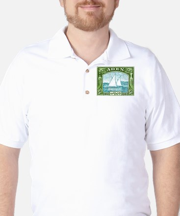 1937 Aden Dhow Boat Postage Stamp Golf Shirt