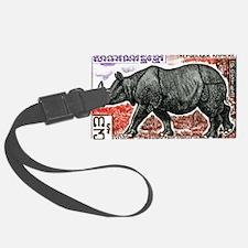 1972 Cambodia Javan Rhino Postage Stamp Luggage Tag