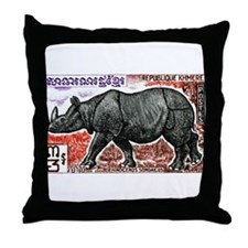 1972 Cambodia Javan Rhino Postage Stamp Throw Pill