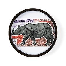 1972 Cambodia Javan Rhino Postage Stamp Wall Clock