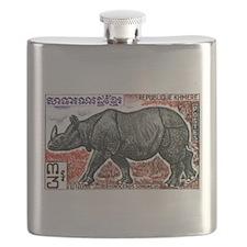 1972 Cambodia Javan Rhino Postage Stamp Flask