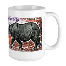 1972 Cambodia Javan Rhino Postage Stamp Mug